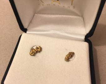 Gold nugget earring studs