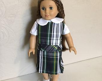 Doll Dress for 18 inch American Girl-Sized Doll, blue green white plaid, optional monogram