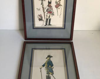 Two Framed Military Prints Prussian Army  Adolph Menzel