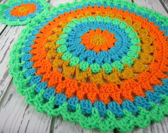 Crochet round placemats, crochet round coasters, table centerpiece, doily, crochet trivet, summer placemat, summer coaters, bright colors