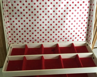 "Vintage 70""s ""LADY BUXTON"" Jewelry Box"" Red Polka Dots - Vanilla Cream Color Box - Shabby Chic"