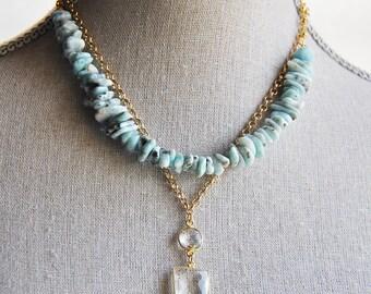 Larimar Necklace, Natural Larimar, Blue Larimar Jewelry, Blue Larimar, Larimar, Pyrite Necklace, Boho Necklace, Bohemian Necklace,Light Blue