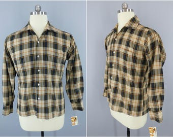 Vintage 1960s Plaid Shirt / 60s Men's Shirt / Security Plys Menswear / Preppy Summer Shirt / Button Down / Brown Plaid