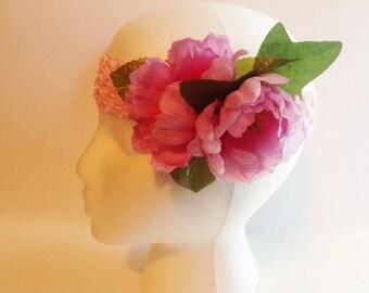 Floral Headband, Pink Floral Headband, Ladies Headband, Teen Headband, Girls Fancy Headband,Woman's Headband,Womans Headband,Headband FH61