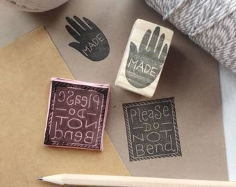 Please Do Not Bend Stamp - Packaging Stamp - Packaging Stamp Set - handmade stamp -Business Stamp - Hand carved Stamp - Label Stamp