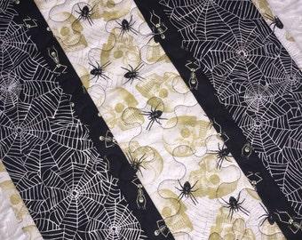 Halloween Table Runner Quilt, Spiders, Spider Web,  Ghosts, Skulls Table Topper Quilt, Black, Silver, White, Handmade