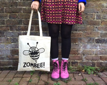 Zombee Tote Bag, Funny Tote Bag, Zombie Print, Bee Tote Bag, hello DODO Tote Bag, Handprinted Tote, Screen Print, Stocking Stuffer, Horror