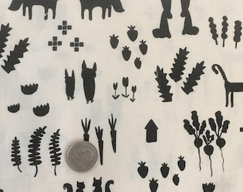 Cotton + Steel This That Black Fabric Foxes Cats Bunnies .5 Yd