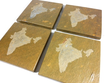 Stone Coasters - Countries Countries (Contact Me about your Country) Personalized Custom Carved Slate Coasters Set - Drink Coasters