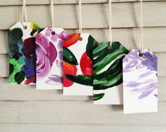 Assorted Acrylic Gift Tags - Variety Set of 5 hand painted tags