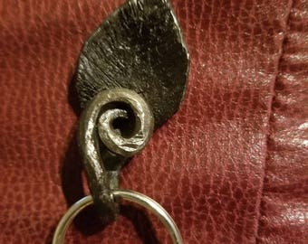 Hand forged leaf key ring