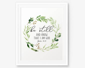 Be Still and Know that I am God, Psalm 46:10, Bible verse printable, Nursery Decor, Bible Verse Print, Kids Decor, Scripture Print,Christian