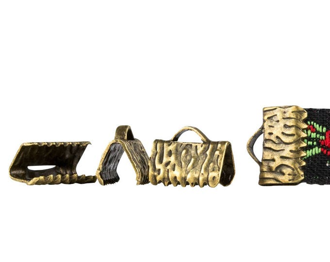 10mm or 3/8 inch Antique Bronze Ribbon Clamps End Crimps - with or without loop - Artisan Series - 150 pieces