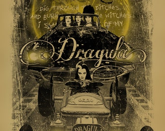 Dragula poster. Elvira. Vampira. Morticia Addams. Lily Munster. Rob Zombie. 12x18. Kraft paper. Munsters. Addam's Family. Horror. Art. Print