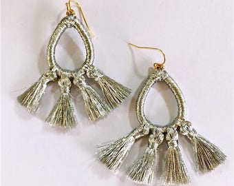 Tassel Fringe Hoop Earrings | Silver & Royal Blue Available