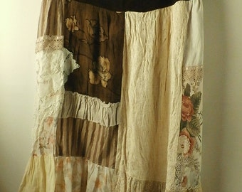 Patchwork Maxi Skirt, Hippie, Gypsy, Cowgirl, Boho, Brown Velvet, Laces, and Floral Prints