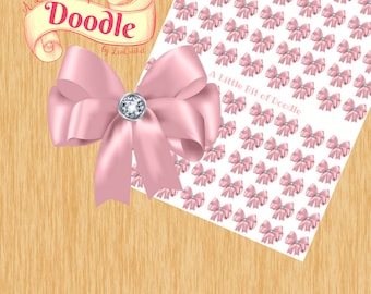 Pink Bow with Gem Stickers | Happy Planner Stickers | Create 365 Stickers | MAMBI Stickers
