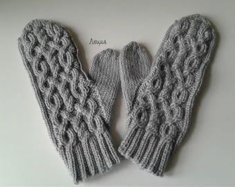 Women gray handmade knitted mittens. Fashion accessories. Mittens gray. Knitting to order.