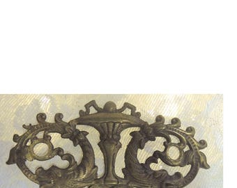 Vintage Solid Brass Hardware,  Decorative Victorian Drawer Pull, Dolphin Drawer Pull, Steampunk Hardware, Solid Brass Hardware