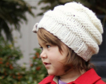 Hat Knitting Pattern, Slouchy Hat Pattern, Instant Download PDF Pattern. Girls Hat Pattern, Easy Hat Pattern, Child and Adult sizes - JOSIE