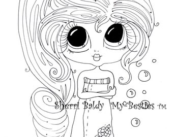 INSTANT DOWMLOAD Digital Digi Stamps Big Eye Big Head Dolls Digi  My Besties Remix 6 Bathing Beauty By Sherri Baldy