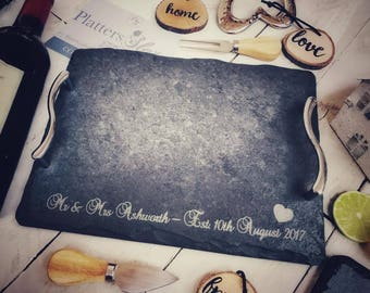 "Personalised Rectangular Mr and Mrs Slate Handled Tray | 30x22cm | ""Mr & Mrs [Name] [Date]"" - Perfect Personalised Engagement, Wedding Gift"