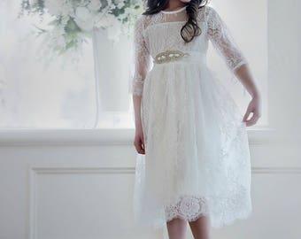 Flower girl dress, white girls lace dress, long sleeve  flower girls dresses, baby toddler dress, rustic lace flower girl dress, girls dress