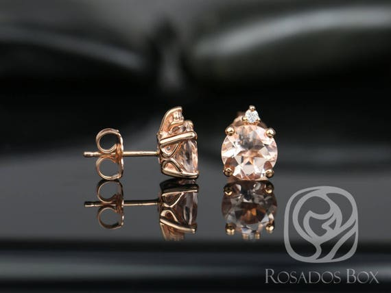 Rosados Box Nicole 7mm 14kt Rose Gold Round Morganite and Diamond Stud Earrings