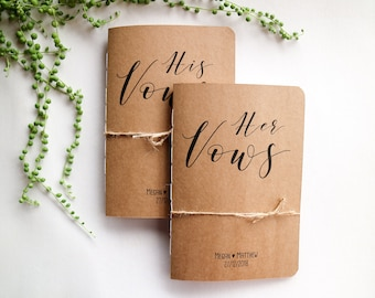 Vow Books // A5 Custom Name and Date 'His and Her' Wedding Vow Booklets // Set of 2 // Kraft Brown // Rustic Wedding // Vow Renewal
