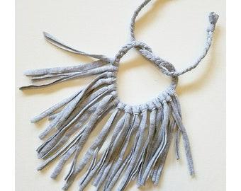 Heather grey neutral fringe necklace