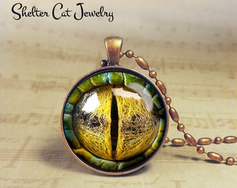 "Reptilian Creature Eye Necklace - 1-1/4"" Round Pendant or Key Ring - Handmade Wearable Photo Art Jewelry - Fantasy Dragon Eye Geek Gift"