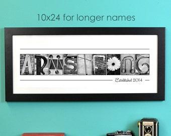 Personalized 10x24 Name Print  FRAMED, size for longer names, alphabet photography, photo name art, wedding signage, photo letter art