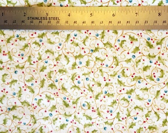 Holly and Berries Fabric, Destash Fabric, Holiday Fabric, Christmas Fabric