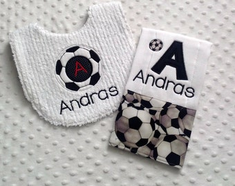 Baby Boy Personalized  Gift Set  - Bib and Burp Cloth, Soccer Theme