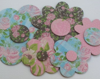 SHABBY COTTAGE Florals - Flower Chipboard Die Cuts - Soft & Delicate Embellishments - 12 Different Flowers