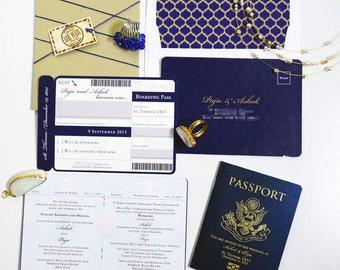 PUJA Passport and Boarding Pass Destination Wedding Invitation Suite, Custom Booklet Invite, Airline Ticket, Plane Ticket, US Passport Card