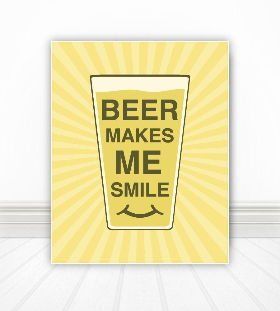 Beer Makes Me Smile, Kitchen Wall Art, Kitchen Art, Kitchen Print ...
