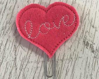 Love Heart Valentine Felt Planner Clip