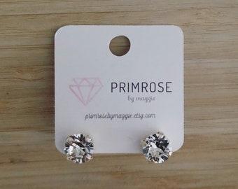Crystal + Silver, Handmade Swarovski Crystal Stud Earrings, Silver Stud Earrings, Wedding Jewelry, Gift for her, Stud Earrings,Free Shipping