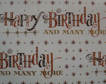Vintage Gift Wrapping Paper - Metallic Gold Happy Birthday and Many More by Norcross New York - Masculine For Him - 1 Unused Full Sheet