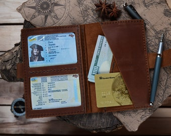 Large passport cover, large card holder, travel wallet, ID holder, leather case, leather cover, compact case, long journey, everyday life