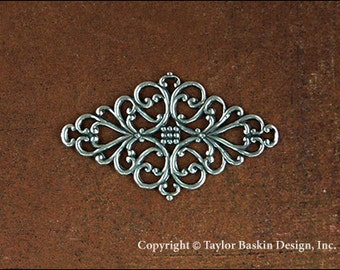 Antiqued Sterling Silver Plated Filigree Pin or Barrette Component (item 2507 AS) - 6 pieces