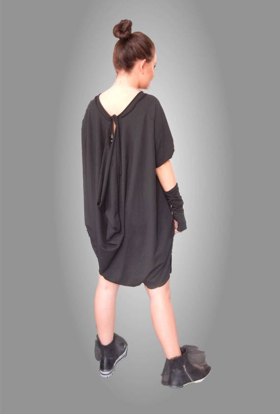 Flattering Loose Overall / Asymmetric Oversized Black Jumpsuit / Teenager Overall / Bare Back Plus Size Jumpsuit / Aged Effect