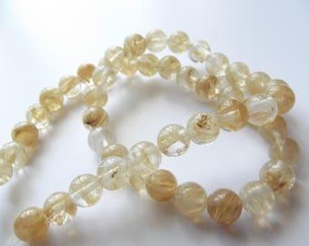 46 smooth round beads 8 mm STAR-172 tinted quartz