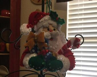 Santa Felt Ornament Holding Presents