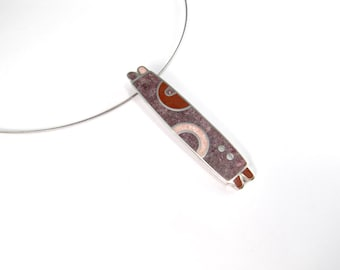Sterling Silver Pendant, Modern Design, Soft Colors, Pink Red Purple