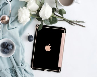 iPad Case . iPad Pro 10.5 . Simply Black with Rose Gold Smart Cover Hard Case for  iPad mini 4  iPad Pro  New iPad 9.7 2017
