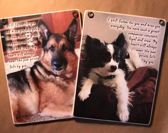 Pet Remembrance / Custom Made With Your Own Pets Photo / Adhered To Wood And Ready To Display / Photo Gifts Make Perfect Presents