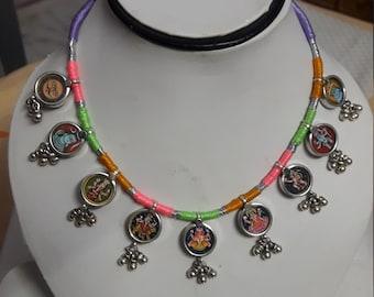 Handmade Hindu Multi Deity Haind Painted  Miniature Art 92.5 Sterling Silver Bell Glass Framed Adjustable Thread Necklace