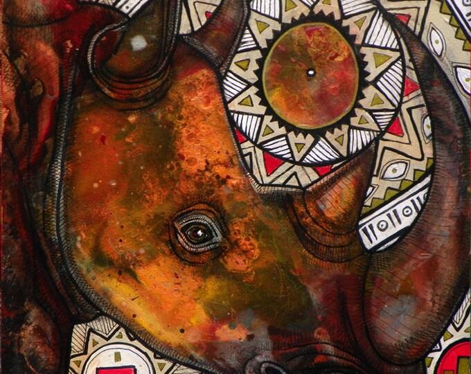 Remember the Rhino Art Print by Lynnette Shelley